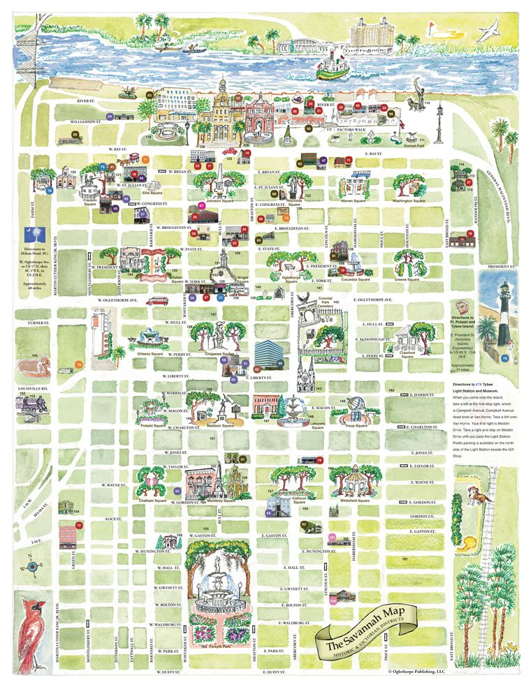Map of Savannah Squares – Georgia Tourist Map