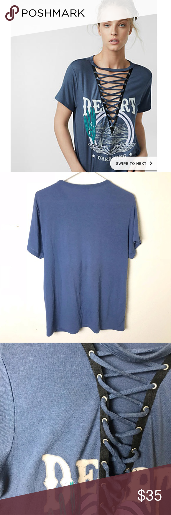 Express Desert Dreaming Lace Up Graphic Tee Express blue lace up short  sleeve shirt with desert ed4e45cff