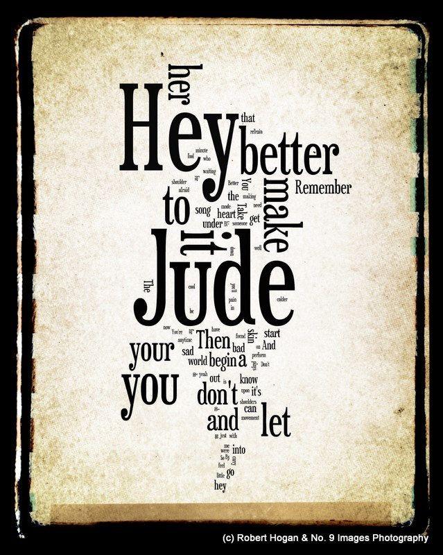 Lyric let it be the beatles lyrics : Hey Jude Lyrics - The Beatles Word Art - Word Cloud Art 8x10 ...