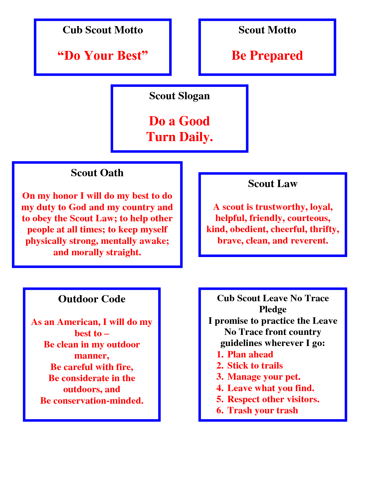 Scout Oath Law Motto