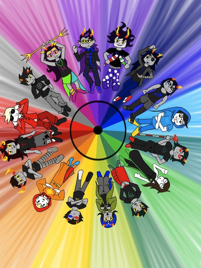 homestuck color wheel with beta characters<==damnit karkat you ruined the rainbow