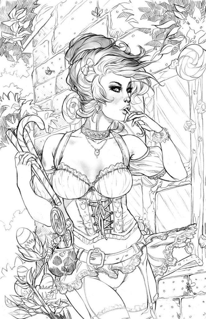 It is a picture of Free Printable Fantasy Pinup Girl Coloring Pages with poison ivy