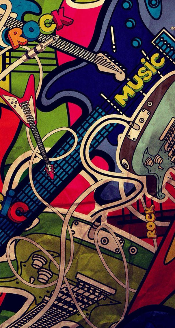 Guitar pop art wallpaper Duvar kağıtları, Iphone