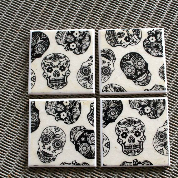 Day Of The Dead Ceramic Drinks Coasters Mexican Black Sugar Skulls Home Decor