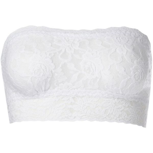 Hanky Panky Lace Bandeau - White (88 CAD) ❤ liked on Polyvore featuring tops, shirts, bandeau, bandeaus, white, hanky panky, bandeau tops and bandeau bikini top