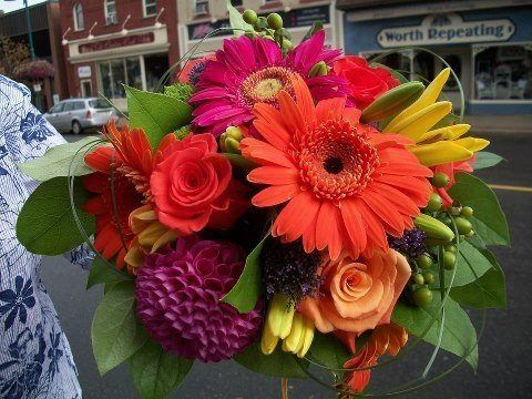 A bright and beautiful bouquet of fresh flowers including gerbs roses Lillie's and more. What more could a girl ask for