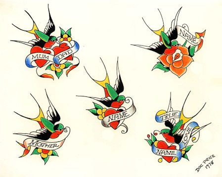 Old School Color Cartoon Swallow Bird Heart Tattoo Designs Old School Tattoo Vintage Tattoo Design Heart Tattoo