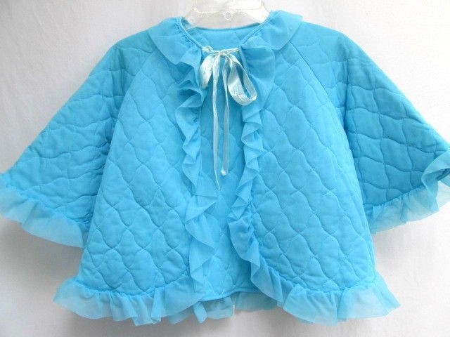 VTG 50's...TURQUOISE BLUE..HOUSE JACKET / BED ROBE..BABYDOLL..RUFFLES..sz MED