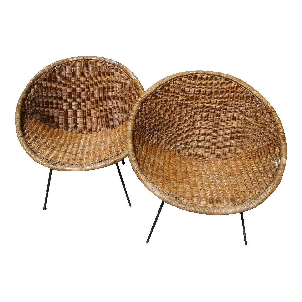 Image Of Vintage Mid Century Bamboo Rattan Wrought Iron Hoop Chairs Pair Chair Club