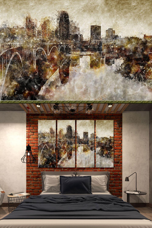 Minneapolis Wall Art Contemporary Abstract Wall Decor Etsy In 2020 Abstract Wall Decor Retro Wall Decor Wall Art