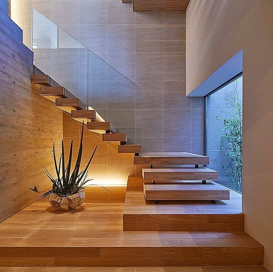 floating staircase L shaped