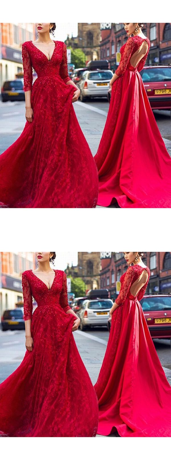 red long prom dress a line simple modest vneck cheap prom