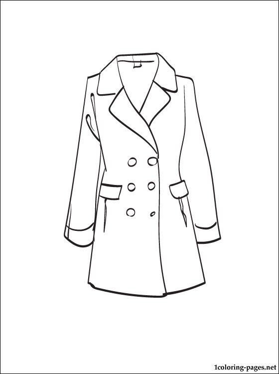 Coat Coloring Page Clothes Colorful Fashion Fashion Face