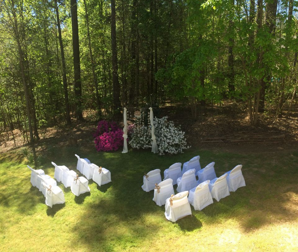 Outdoor Wedding Ideas For Fall On A Budget: Small Backyard Spring Wedding Ceremony Setup
