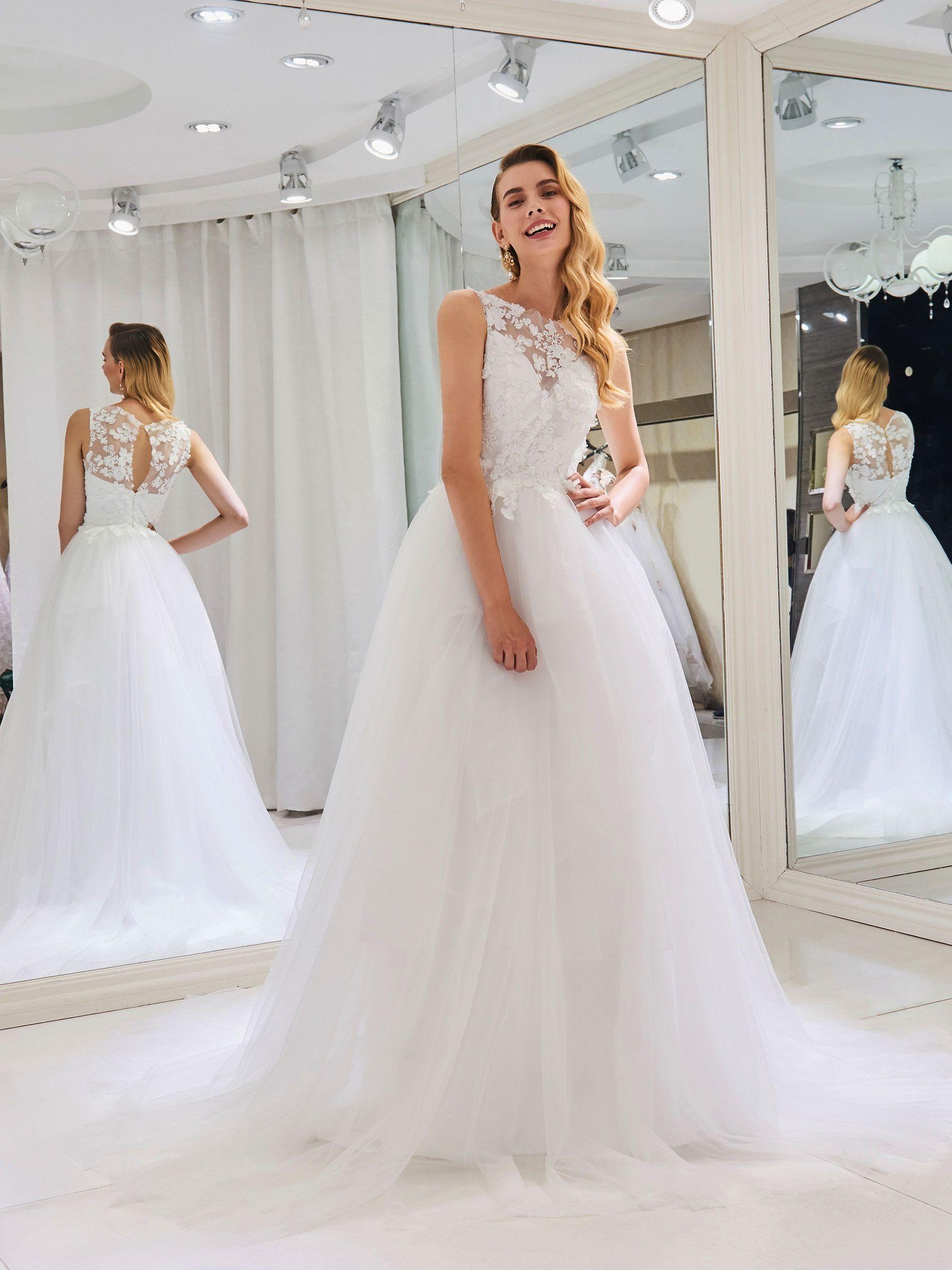 Lace ball gown wedding dresses  Lace Appliques Ball Gown Wedding Dress  Wedding Lovinu  Pinterest