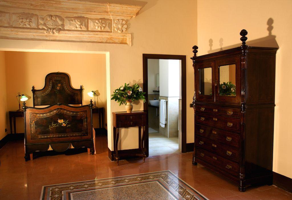 Traditional Sicilian Bedroom in the Abbazia Santa Maria del Bosco near Bisacquino in Sicily
