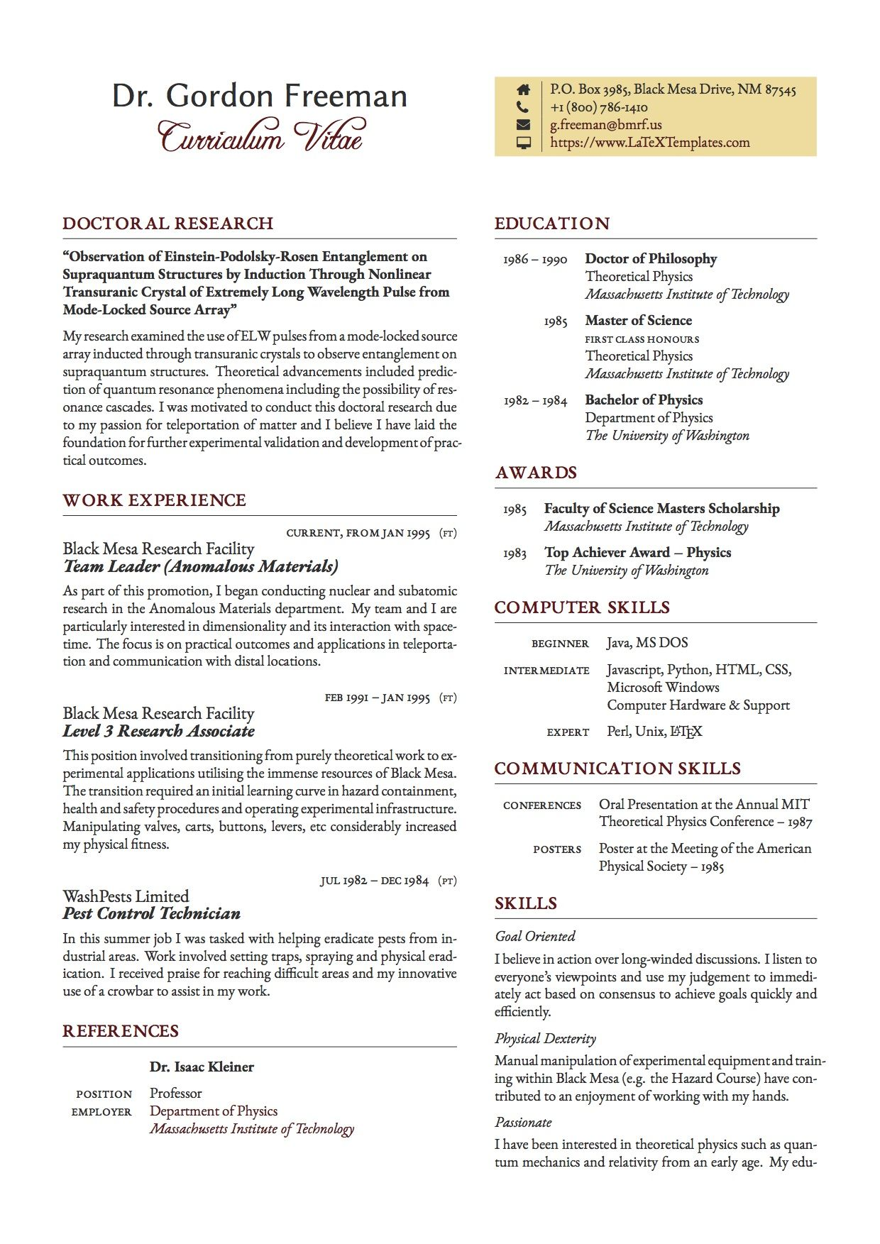 Freeman CV LaTeX Template