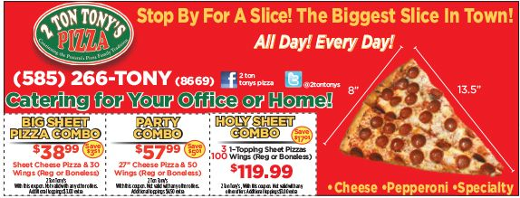 2 Ton Tony S Pizza Coupons Great Pizza In Rochester Ny Deals On Sheet Pizzas And More Pizza And More Tonys Pizza Sheet Pizza