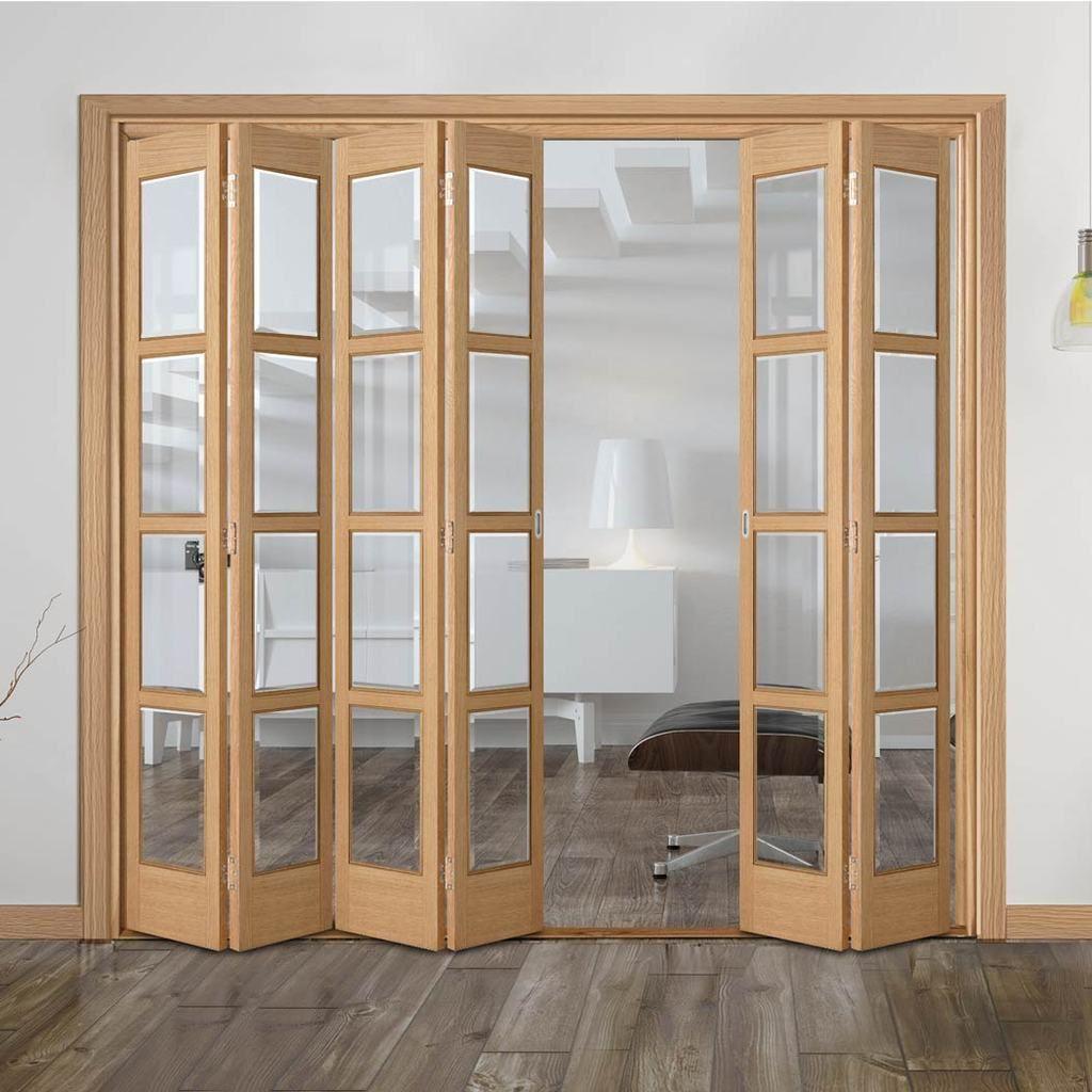 Bespoke Slimline 4 2 Folding Bardsley Oak 4 Pane Doors Clear Bevelled Glass Prefinished Folding Doors Folding Doors Interior Wooden Glass Door