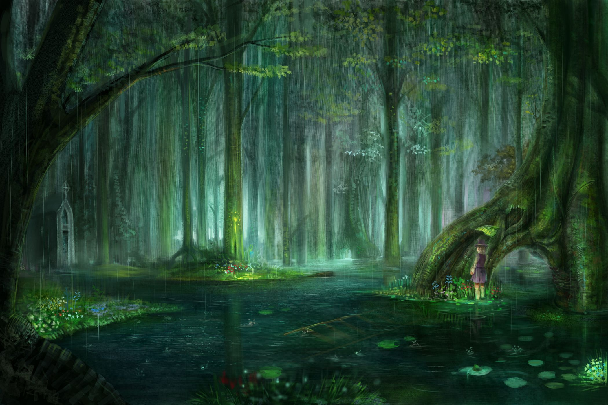 Nature Anime Background Swamp Fantasy Forest Forest