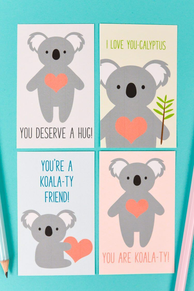 Printable Koala Valentines Diy Valentine S Cards For Friends