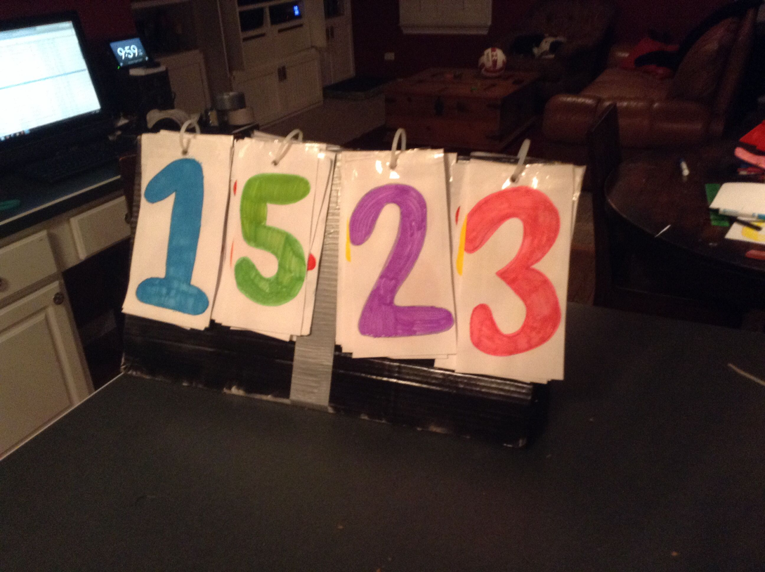 This Is A Homemade Volleyball Scoreboard Things You Will Need Cardboard Triangle Box Zipties Tape Markers Paper Easy Fun Diy Fun Diys Marker Paper Diy