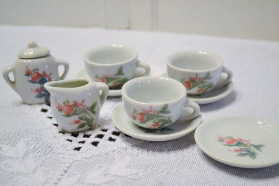 Vintage Ceramic Miniature Tea Set Pink Flower Design Doll Size Toy