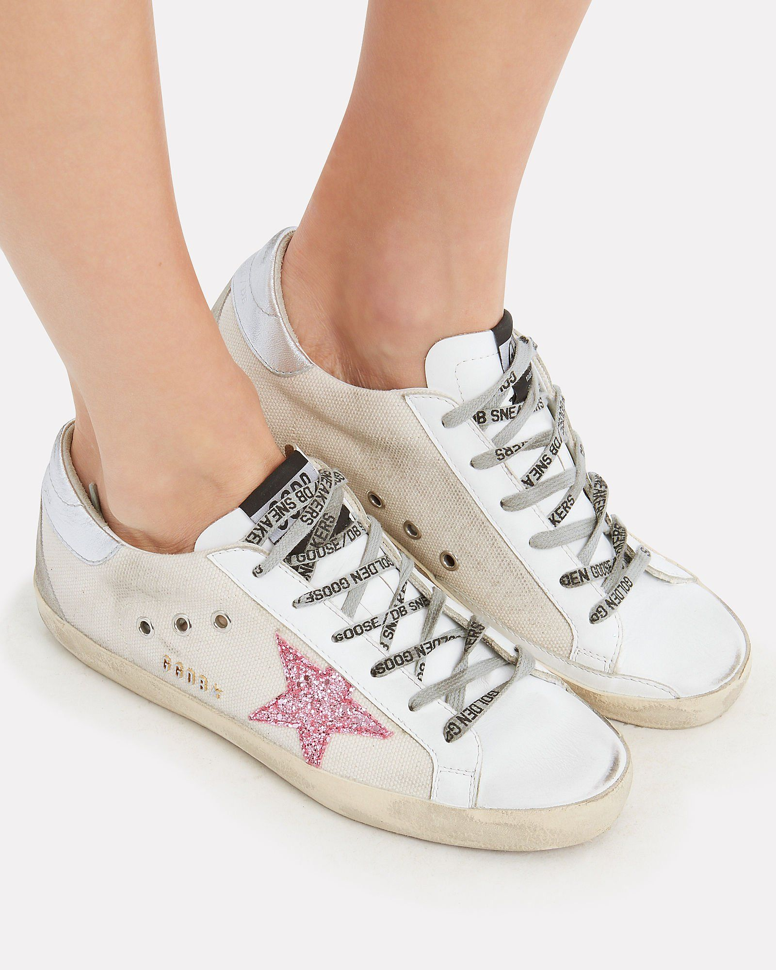 Golden Goose Superstar sneakers with rose glitter star