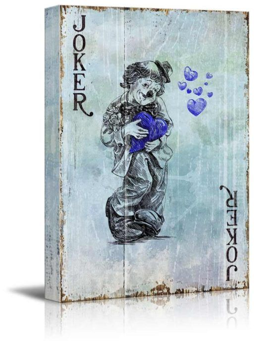 Joker Blue Hearts Wall Art    High quality printed canvas stretched and stapled to durable shrink resistant frames.  1.50″ thick stretcher bars for gallery quality profile.  Canvases are printed and hand stretched in the USA by professionals.