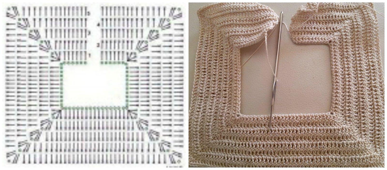 Esquema cuello cuadrado vestido ganchillo crochet   Manualidades ...