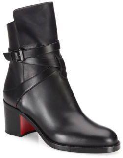 623065e9a8ec Christian Louboutin Karistrap Leather Block-Heel Booties