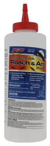 Pic Orthoboric Acid Roach and Ant Killer by Pic. $2.99. For use in homes, hotels, apartments, schools, restaurants and warehouses. Kills roaches, waterbugs, palmetto bugs and silverfish. Odorless, non-staining; 5-ounce/142 grams bottle. Boric acid roach killer. Squeeze bottle with spray spout-bottle oversized to aid in squeezing out enclosed product. Boric Acid 5-Ounce/142 Grams Roach Killer, Odorless, Non staining, Kills Cockroaches, Fleas and Silverfish.