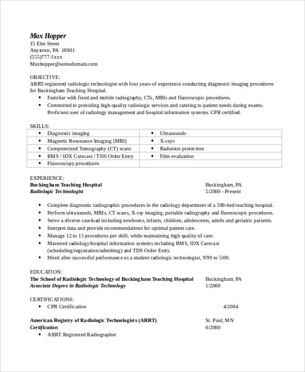 resume objective example samples for radiologic thank you letter - radiologic technologist sample resume