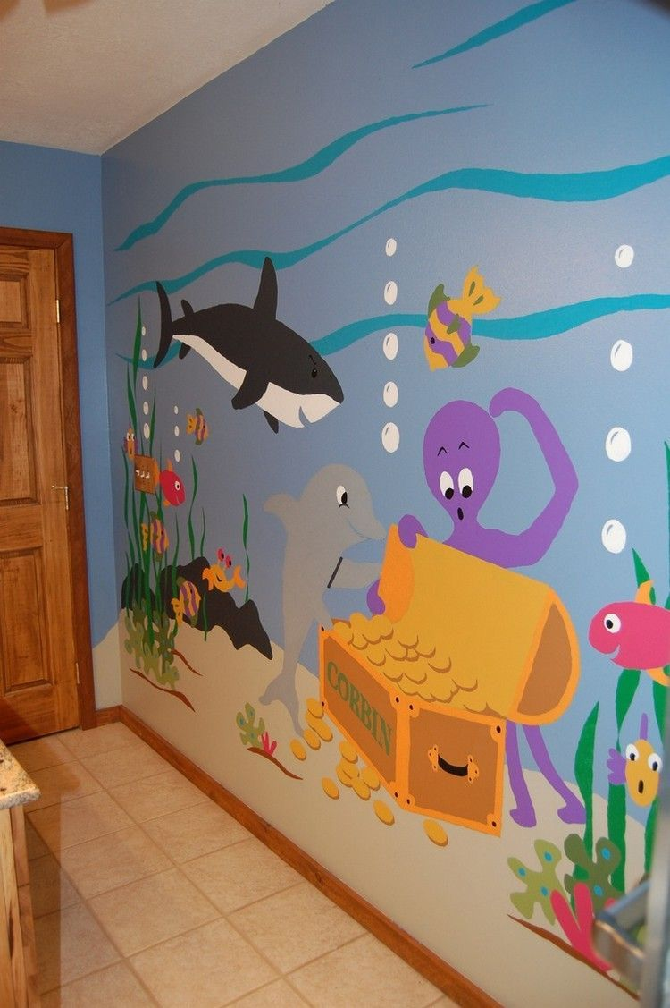 Wandmalerei unterwasserwelt tiere und piratenschatz rund for Kinderzimmer unterwasserwelt