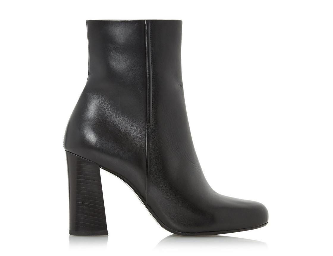 Dune Ladies OSMOND Flared Heel Ankle Boot in Black Size UK 4