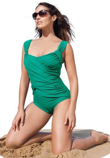 c2e1a528b89 Amazon.com: Jessica London Plus Size Draped Maillot Swimsuit: Clothing