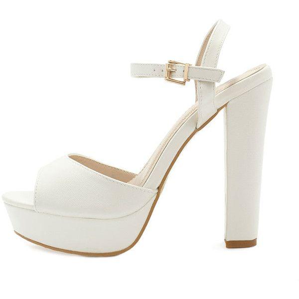 Flori Cream Leather Block Heeled Sandal