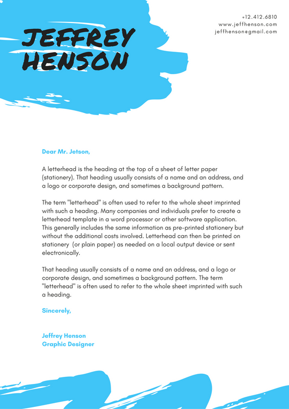 White With Blue Brush Strokes Personal Letterhead Stock