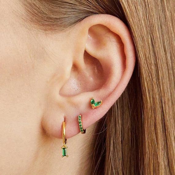 Photo of Tiny studs, dainty studs, green stone earrings, small gold earrings, delicate stud earrings, minimal