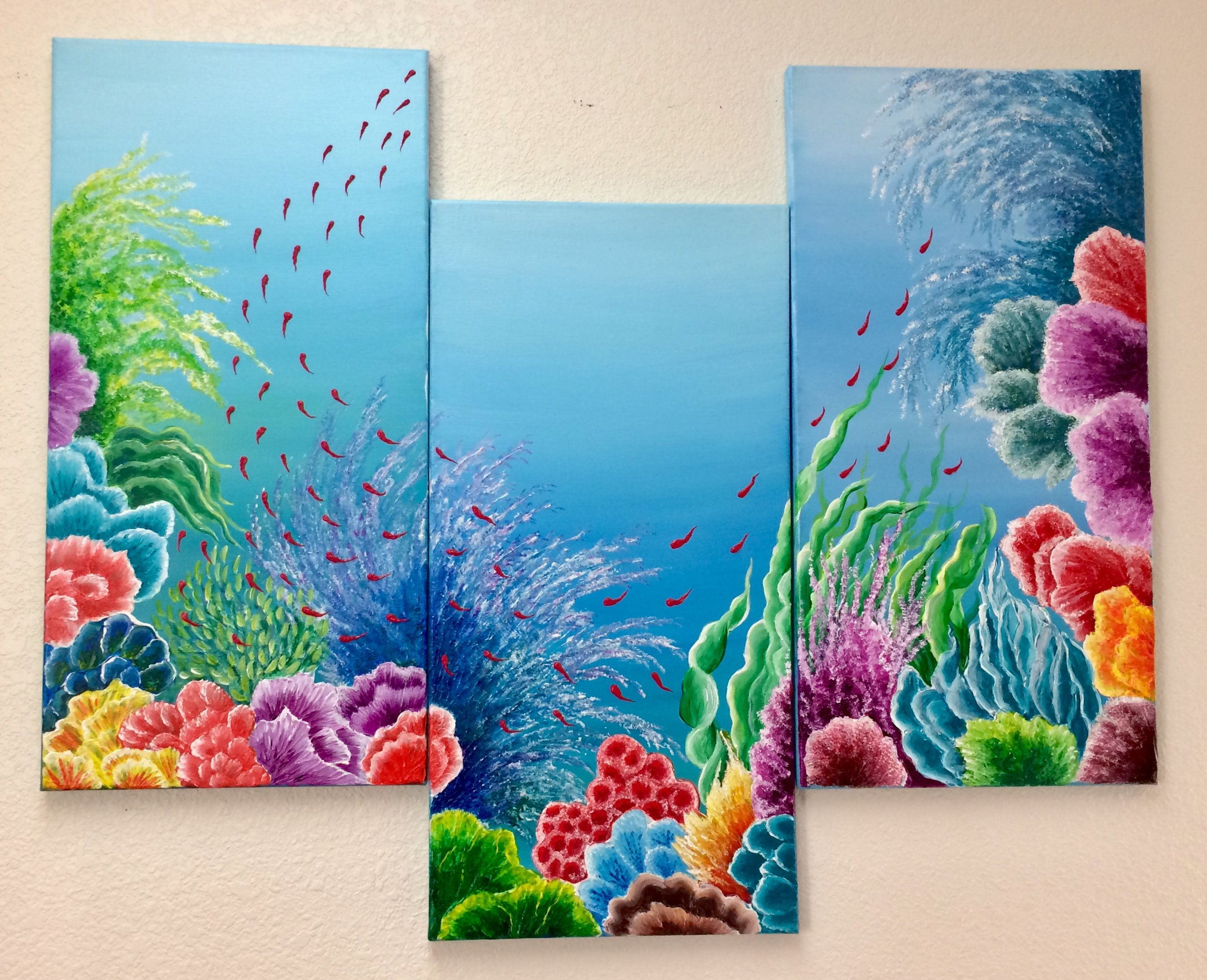 Original Acrylic Painting Abstract Painting Underwater Etsy Acrylic Painting Canvas Coral Painting Abstract Painting