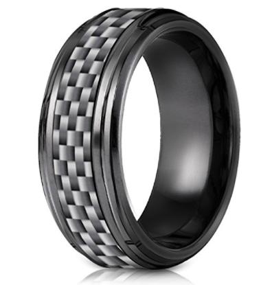 Men's Wedding Band Benchmark Black Titanium ComfortFit