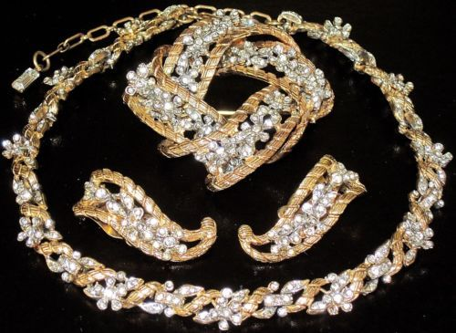 Kramer Sparkling Ice Rhinestone Flowers Golden Necklace Pin Earring Set | eBay