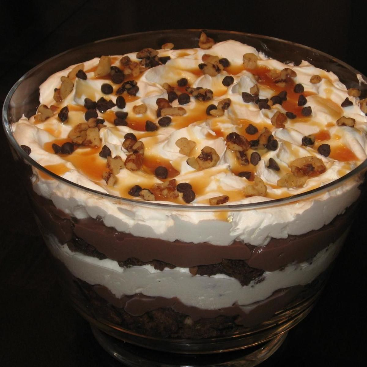 Turtle Brownie Trifle #turtlebrownies