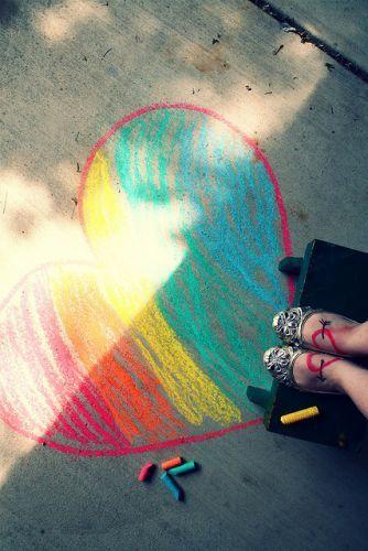 Bench Monday: Rainbow Heart Edition / Flickr - Photo Sharing! (chalk,heart,colours,love,art)