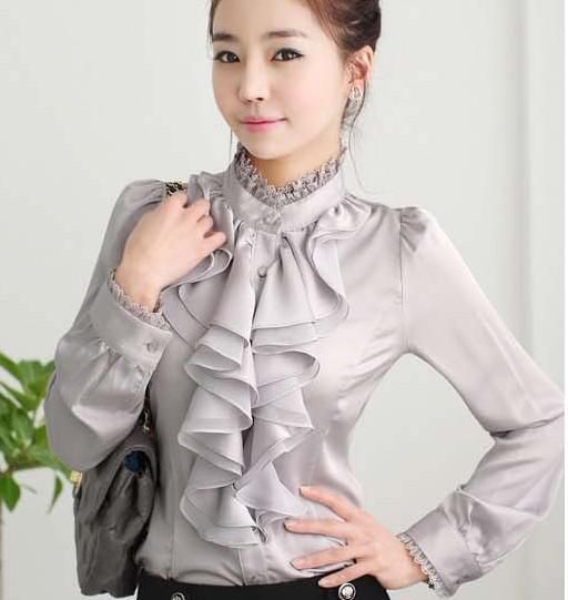2018 New Ladies High Neck Frilly Womens Vintage Victorian Blouse Ruffle  chiffon Top Shirt steampunk shirt. Yesterday s price  US  31.55 (27.76 EUR). 3defe94ac