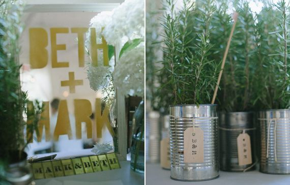 They potted fresh rosemary plants in tin cans for each of the guests to take away as favors.