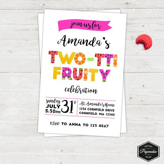Twotti fruity girl fruit party invitation birthday party twotti fruity girl fruit party invitation birthday party printable invitation card english or spanish stopboris Images
