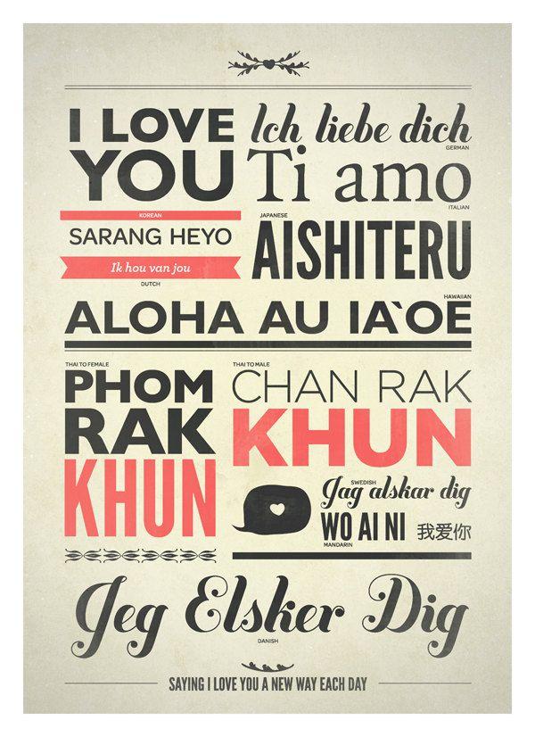 Love typography print in different language - Retro-Style typo print - I love you
