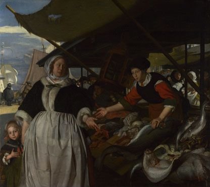 Adriana van Heusden and Daughter at the Fishmarket  about 1662, Emanuel de WitteThis scene was probably painted in about 1661-3 when de Witte was living in the home of Joris de Wijs and his wife Adriana van Heusden. The picture was the subject of litigation between de Witte and Adriana van Heusden in 1669-71. National Gallery London