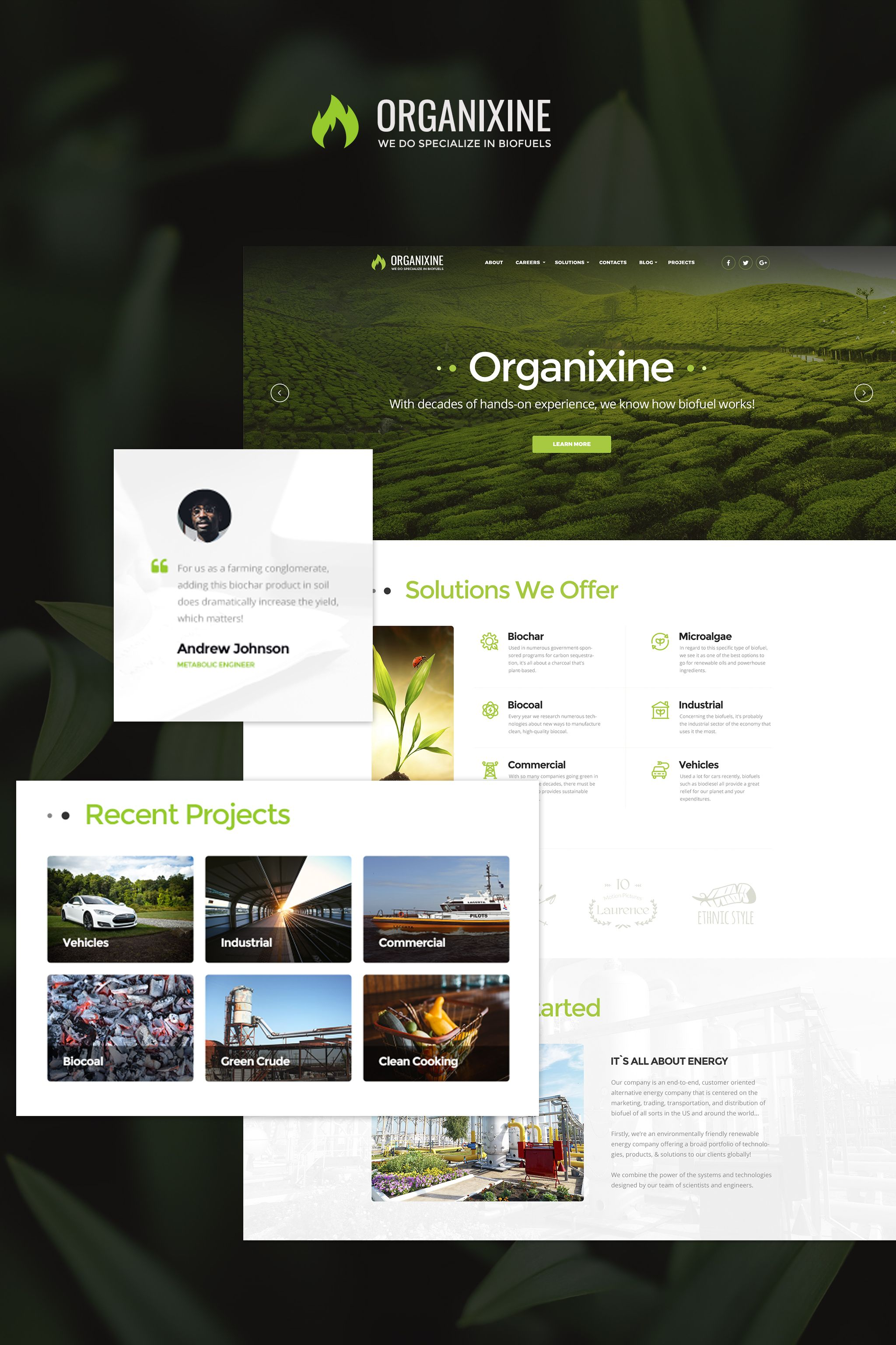 Organixine - Biofuel Company WordPress Theme WordPress Theme ...